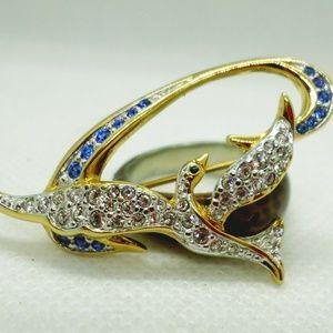 Swarovski Crystal Dove with Blue Ribbon Brooch